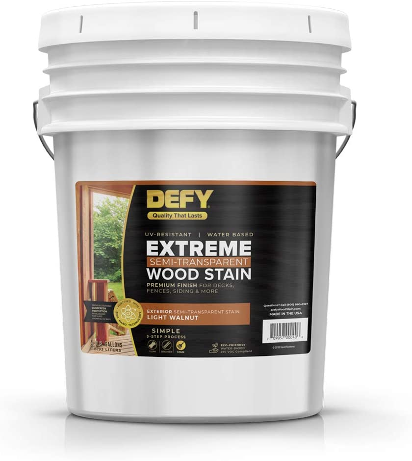 DEFY Extreme 5 Gallon Semi-Transparent Exterior Wood Stain, Light Walnut