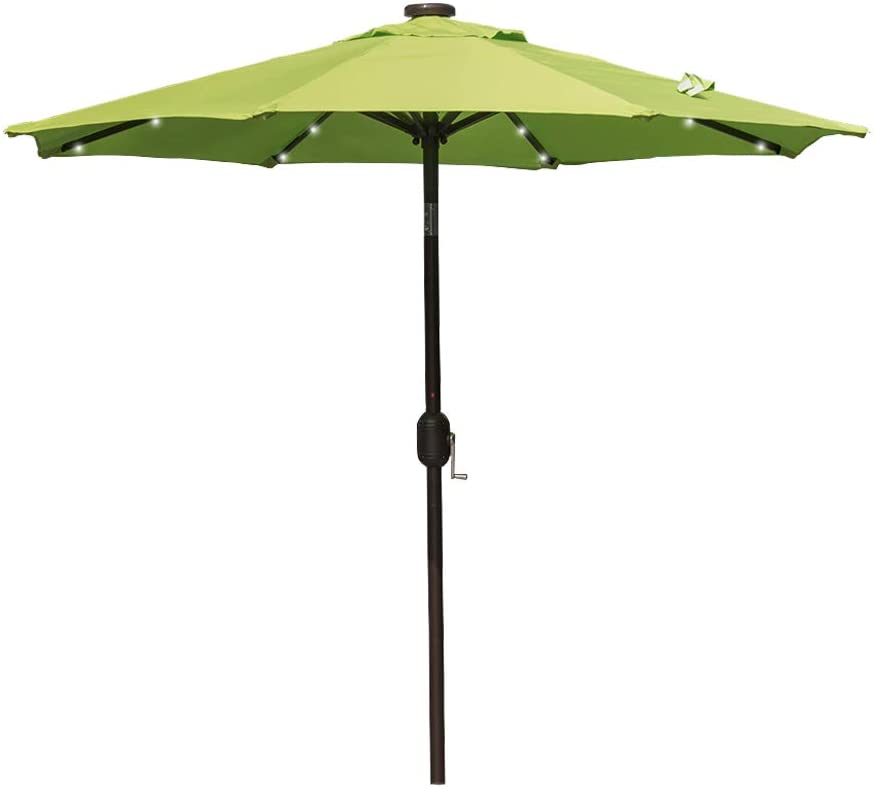 Sundale Outdoor 7 ft Solar Powered 24 LED Lighted Patio Umbrella Table Market Umbrella with Crank and Push Button Tilt for Garden, Deck, Backyard, Pool, 8 Steel Ribs, Polyester Canopy (Apple Green)