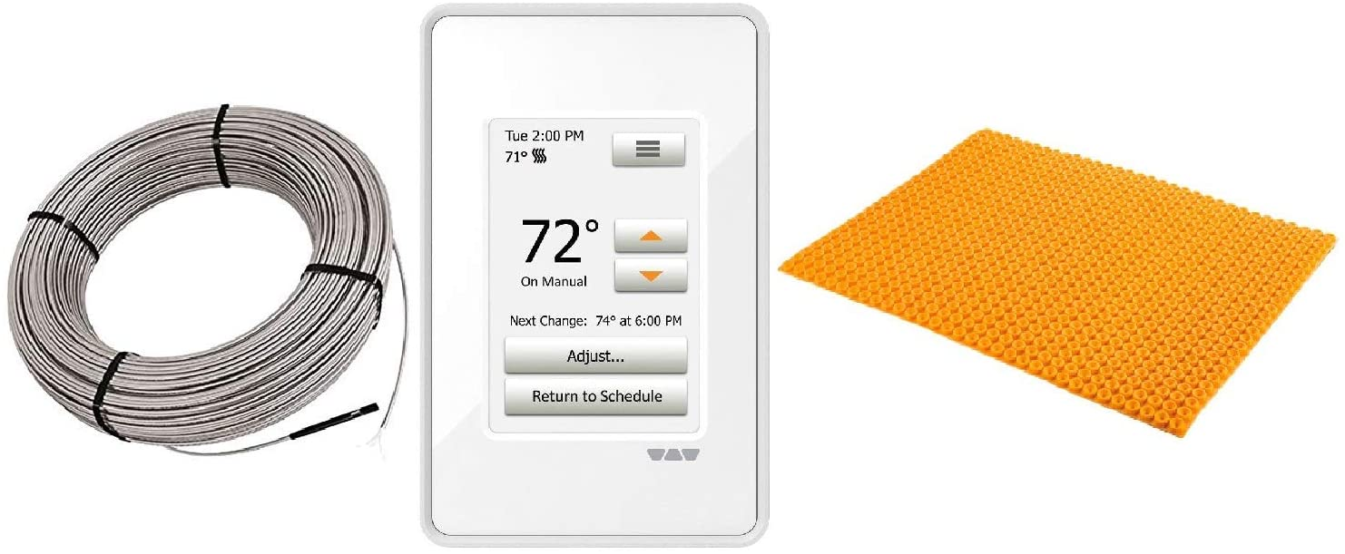 Schluter Ditra Heat E Radiant Floor Heating Kit Touch Screen Thermostat + Membrane + Heating Cable (240V 53 SqFt Heat Kit)