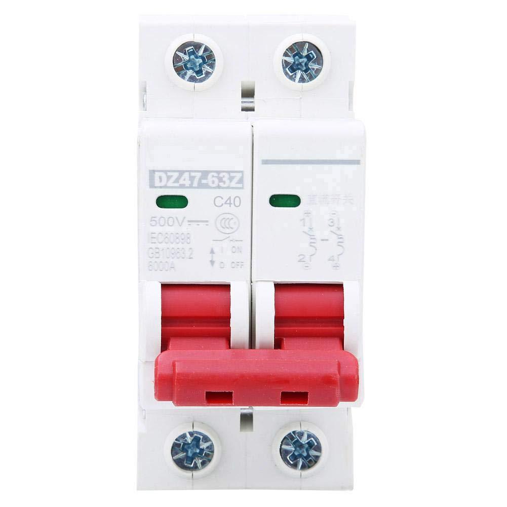 6Pcs 2P AC400V Circuit Breakers, DZ47-63 Intelligent Miniature Circuit Breaker Household Air Switch DIN Rail Mounted(40A)