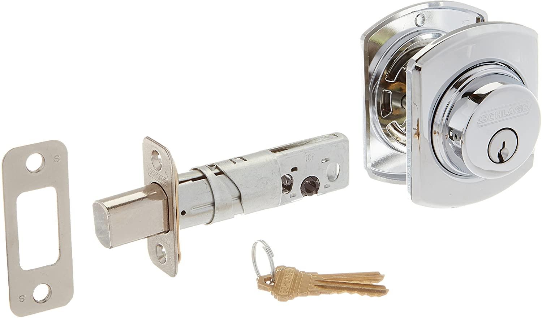 Schlage Lock Company B60GRW625 Single Cylinder Grade 1 Deadbolt with Decorative Greenwich Rose, Polished Chrome