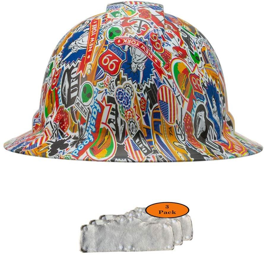 Full Brim Pyramex Hard Hat, New York Sticker Bomb Design Safety Helmet 4pt + 3pk Beige Hard Hat Sweatband, by Acerpal