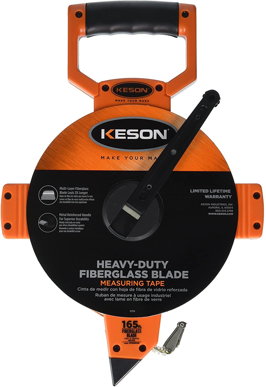 Keson OTR10M165 Open Reel Fiberglass Tape Measure Reel with Double Hook (Graduations: 1/10, 1/100 & m, cm, 2mm), 50M/165-Foot