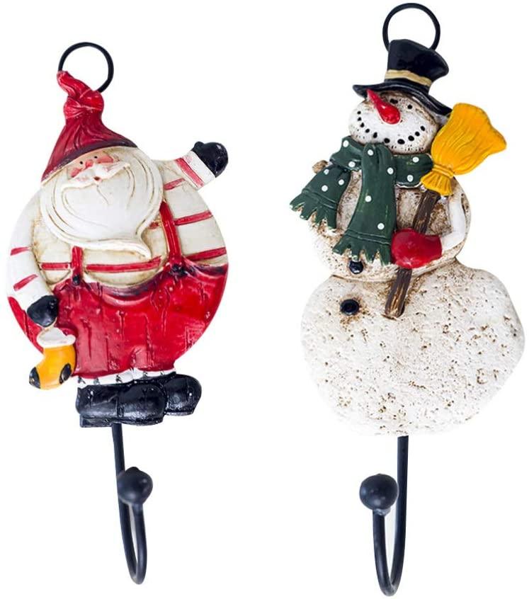 TOPBATHY 2pcs Christmas Wall Hooks Santa Snowman Shape Coat Hooks Key Holders for Home Bedroom Bathroom
