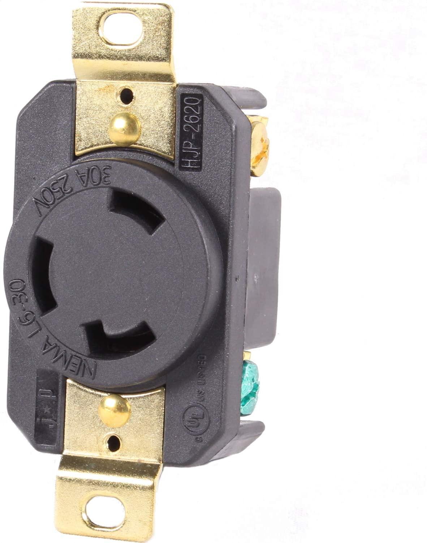 Journeyman-Pro 2620, NEMA L6-30R, 30A 250 Volt, Flush Mounting Locking Receptacle Socket/Outlet, Black Industrial Grade, Grounding Welding/Generator Rated 7500 Watts (1, 2620)