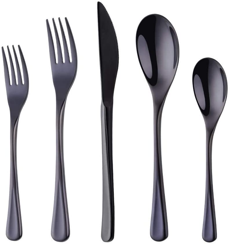 Silverware Set Stainless Steel Black Flatware Set Kitchen Cutlery Heavyweigh Utensil Service for 4 Mirror Finish Dishwasher Safe