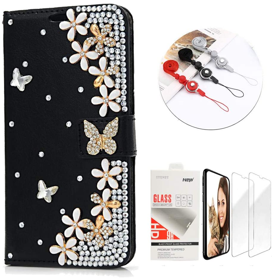 STENES Bling Wallet Phone Case Compatible with LG K51 - Stylish - 3D Handmade Butterfly Flowers Floral Leather Cover with Screen Protector & Neck Strap Lanyard - Black