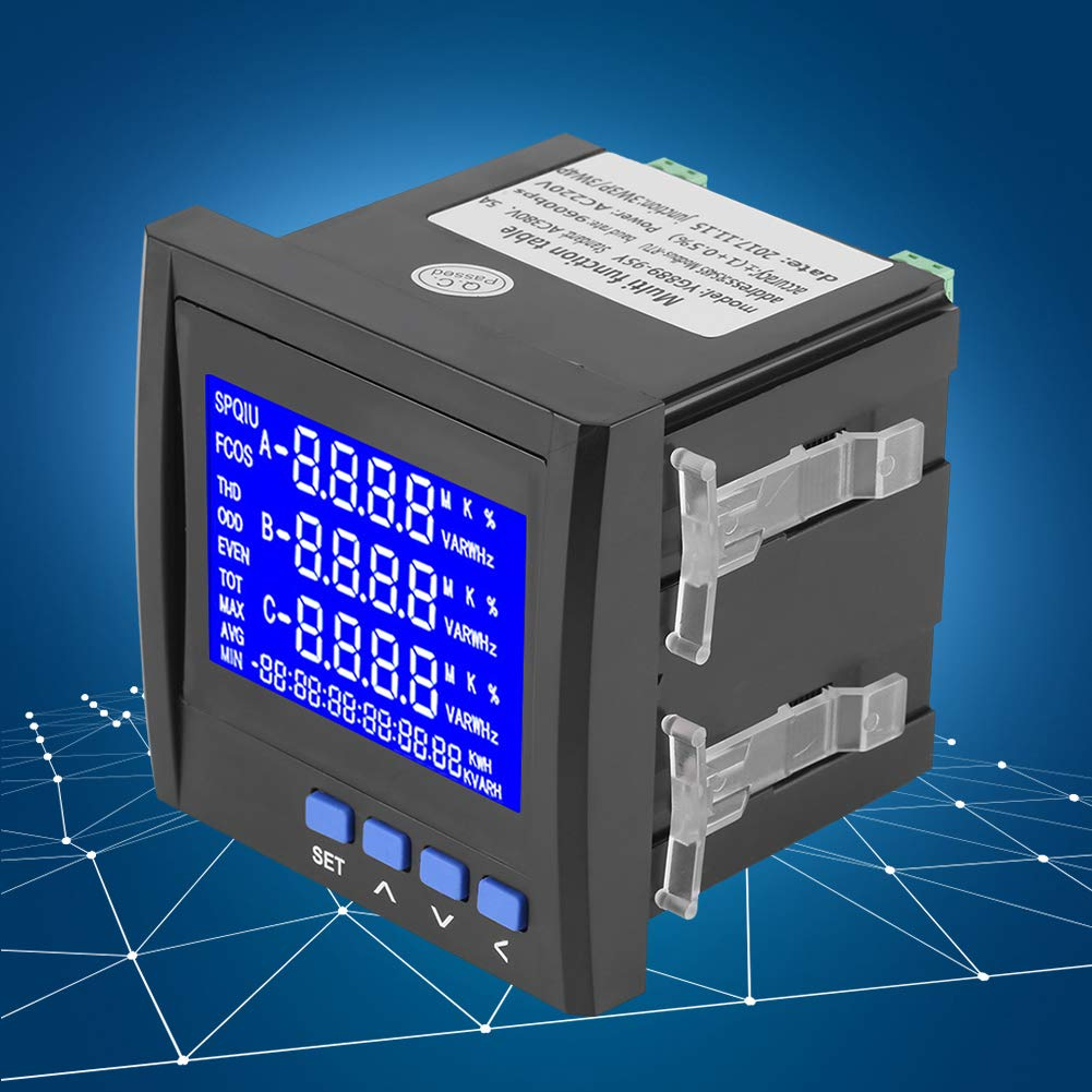 Electric Voltage Meter, Multifunction 3-Phase Electric Current Voltage Frequency Power Energy Meter V A Hz kWh RS485