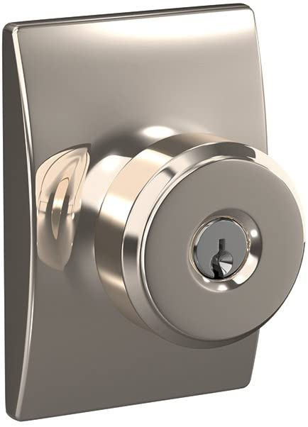 Schlage F51A BWE 618 CEN Bowery Knob with Century Trim Keyed Entry Lock, Polished Nickel
