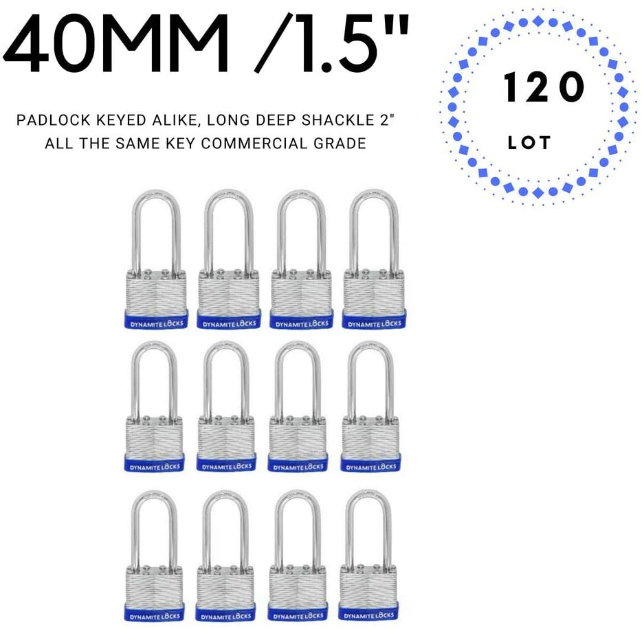 "Set of 120, 40 mm Laminated Steel Padlocks Keyed Alike Long Deep Shackle 2 inches Body Width 1.5"" Keyed Alike Padlocks Set, All The Same Key Premium Quality Life Time Warranty (120)"