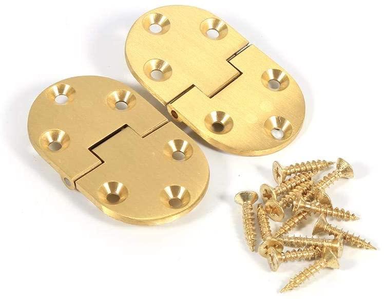 MAGT Brass Tray Hinge Round Edges, 2Pcs Brass Butler Tray Hinge Round Edge 2-1/2