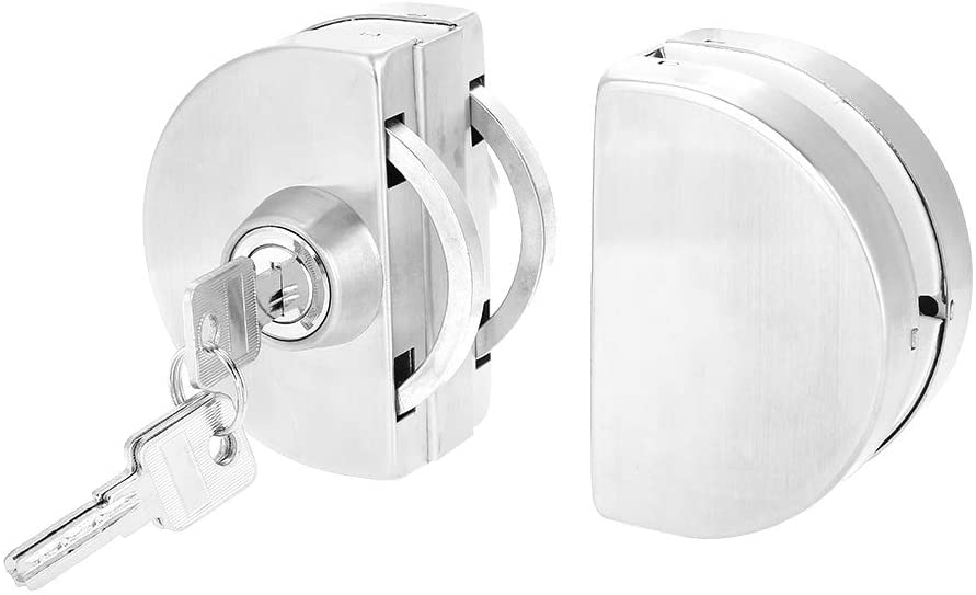 10-12mm High Hardness Stainless Steel Glass Door Lock with Keys Open/Close Convenient Home Hotel Bathroom Use Glass Door