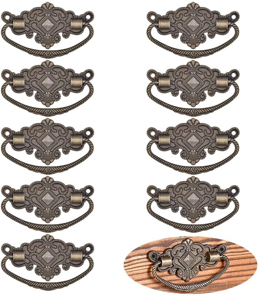 YCSJ 10 Pieces Antique Bronze Drawer pulls, Decoration Cabinet Hardware for Vintage Drawer Box Case Carpenter Repair Furniture Wardrobe Medicine Pull Handle and 20 Pieces Screws