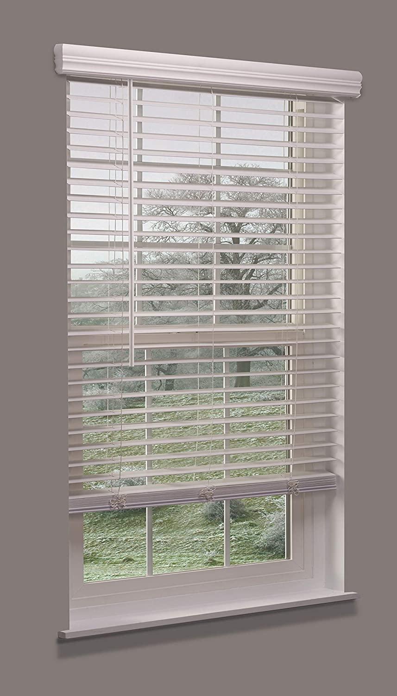 Linen Avenue Cordless Faux Wood Blind White 29 W x 32 to 36 H Partial Inside Mount