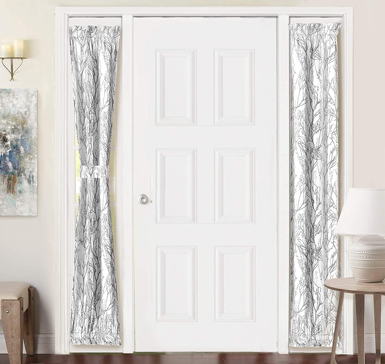 DriftAway Tree Branch Door Curtain Sidelight Curtain Thermal Rod Pocket Room Darkening Privacy Front Door Panel Single Curtain with Bonus Adjustable Tieback 25 Inch by 72 Inch Gray