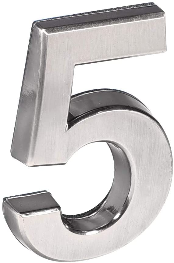 uxcell Self Adhesive House Number 3.94 Inch ABS Plastic Number 5 for House Hotel Mailbox Address Sign Nickel Plated Brushed