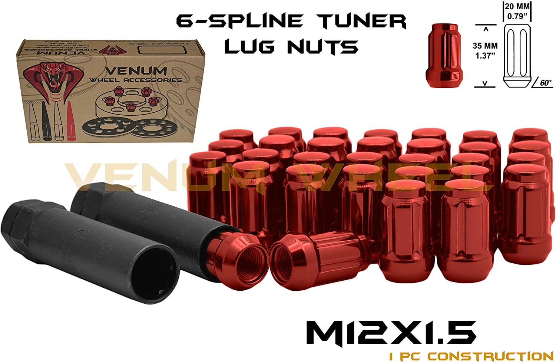 Full Set of 20 M12x1.5 Thread Red Spline Tuner Style Lug Nuts + Two Keys | Mazda Miata CX-3 CX-5 Protege MPV