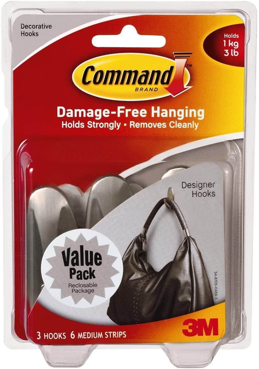 Command Medium Designer Hooks, Brushed Nickel, 4-PACK