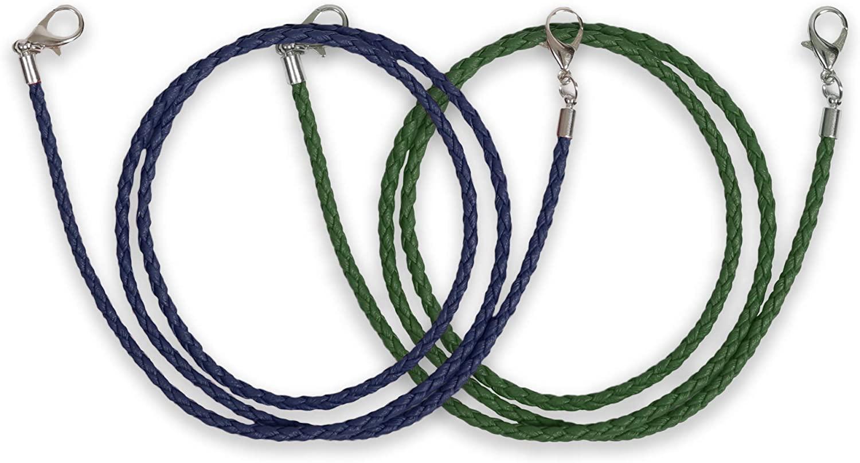 Allsense Fashion Leather Mask Lanyards Ear Pressure Relief Safety Holder Hanger with Hook for Adult Dark Blue/Dark Green 2pk