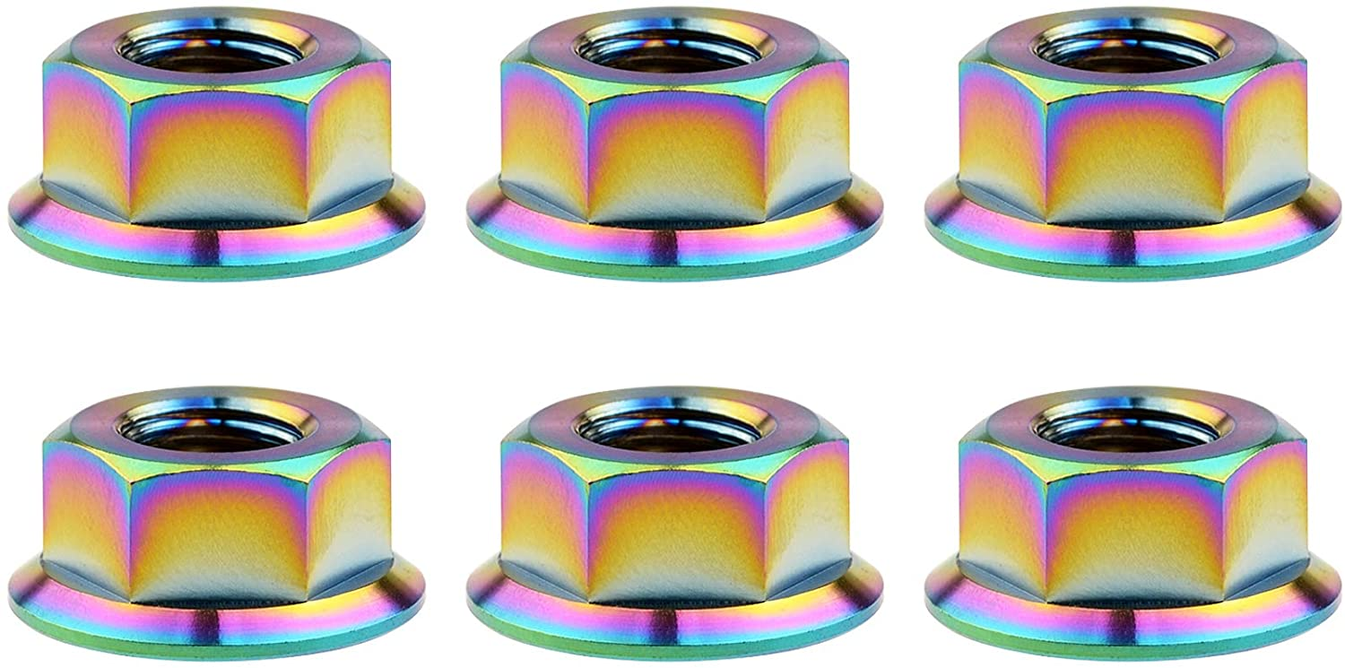Wanyifa Titanium DIN6923 M5 M6 M8 M10 M12 M14 M16 Hex Flange Nuts Pack of 6 (M6 Pitch 1.0mm, Rainbow)