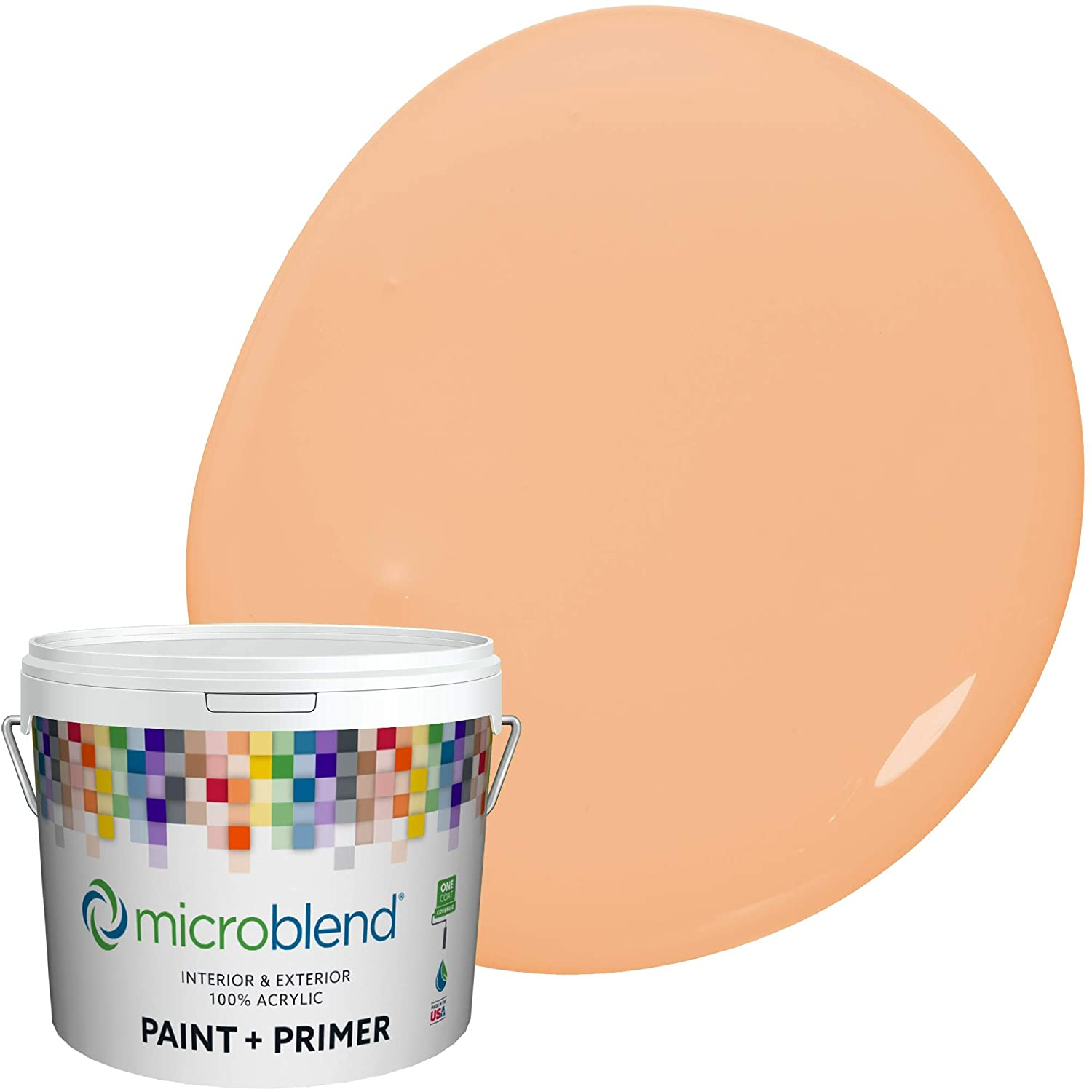 Microblend Exterior Paint and Primer - Orange/Mojave Sand, Flat Sheen, 1-Gallon, Premium Quality, One Coat Hide, Low VOC, Washable, Microblend Oranges Family
