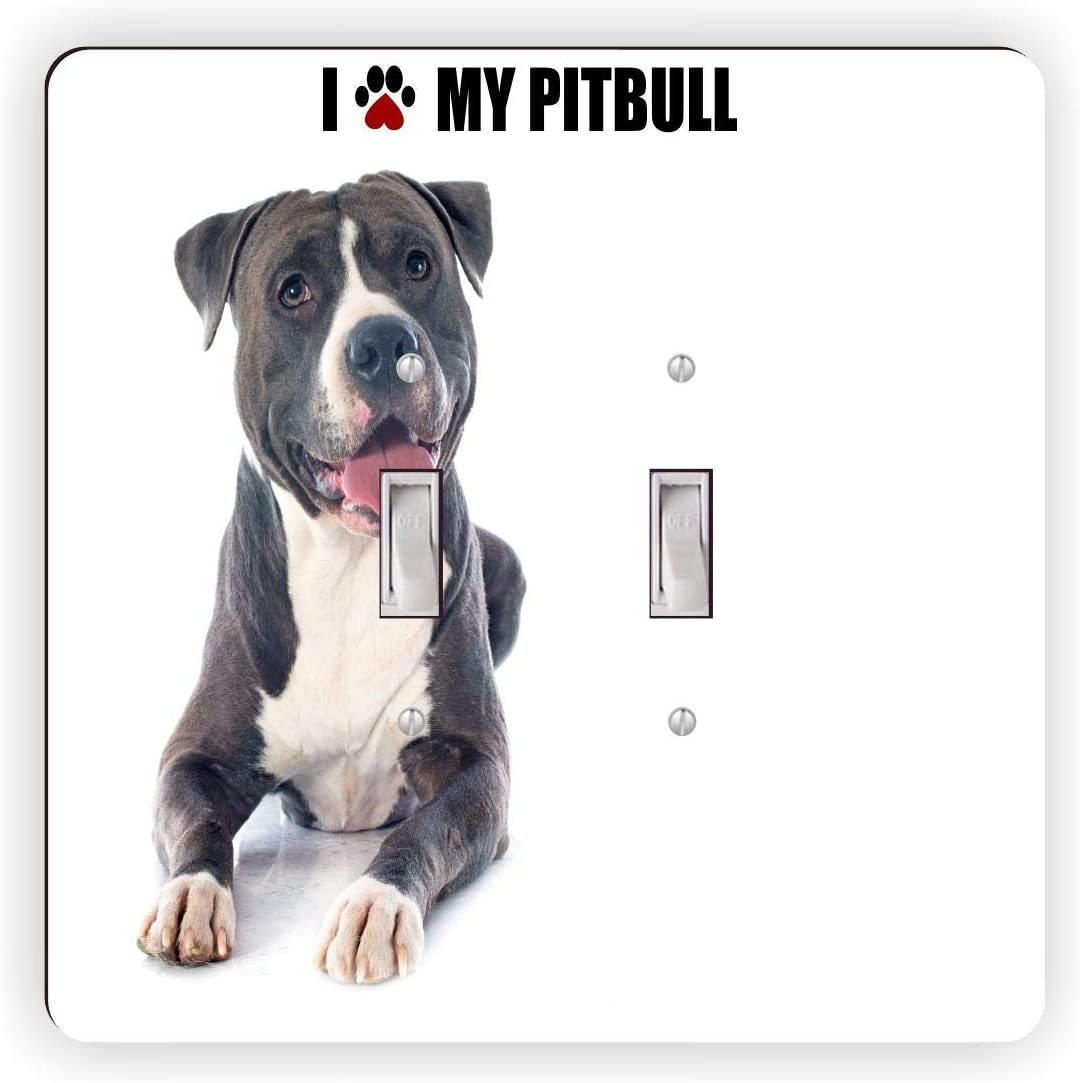 Paw Print I Love my - Pitbull - Black - Light Switch Plate Cover - Double Toggle