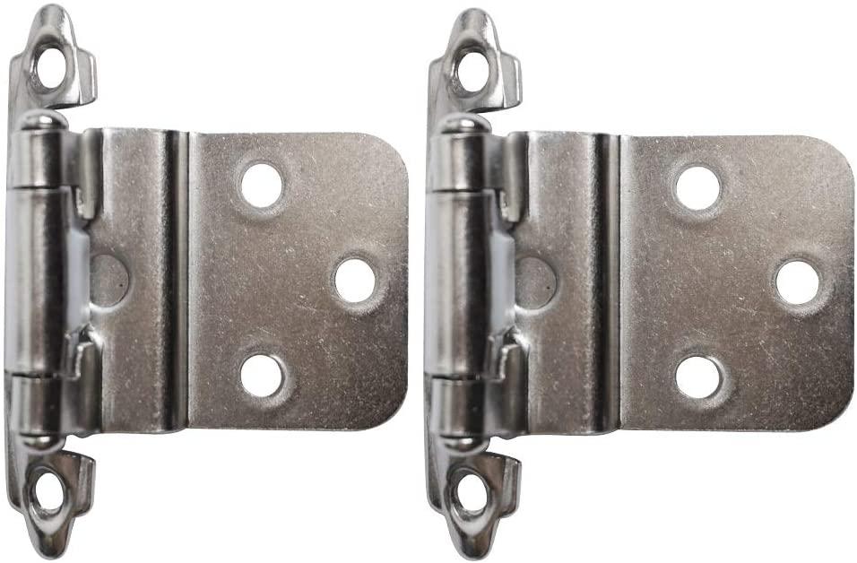 25Pairs Face Mount Self Closing Inset Cabinet Hinge Cabinet Hinges-Satin Nickel