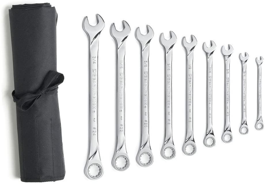 XL Spline Combination Ratcheting Wrench Set SAE - 9-Pc