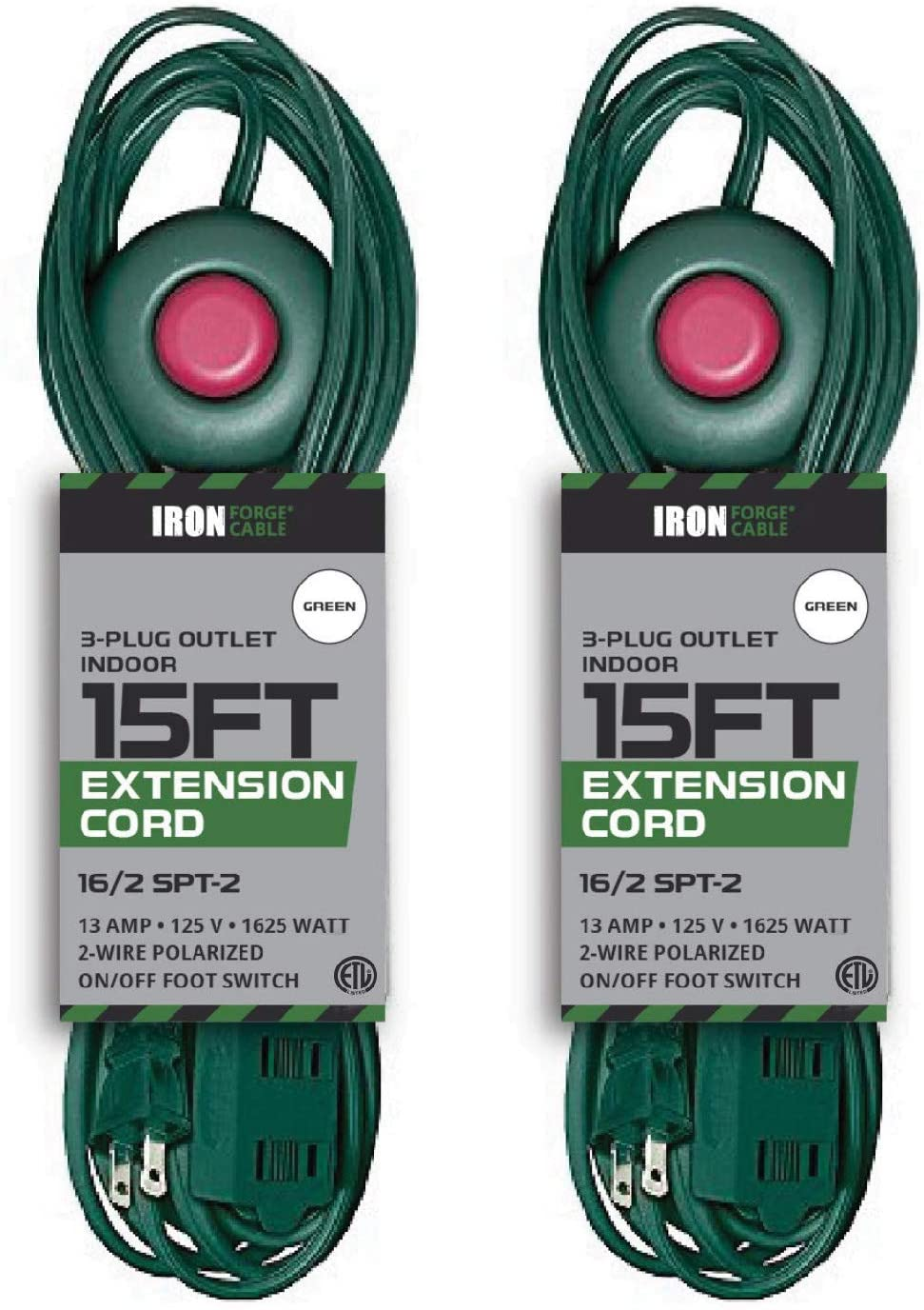 2 Pack of 15 Ft Extension Cord with Foot Switch and 3 Electrical Power Outlets - 16/2 Durable Green Foot Tap Cable Set - Great for Powering Outdoor Christmas Decorations