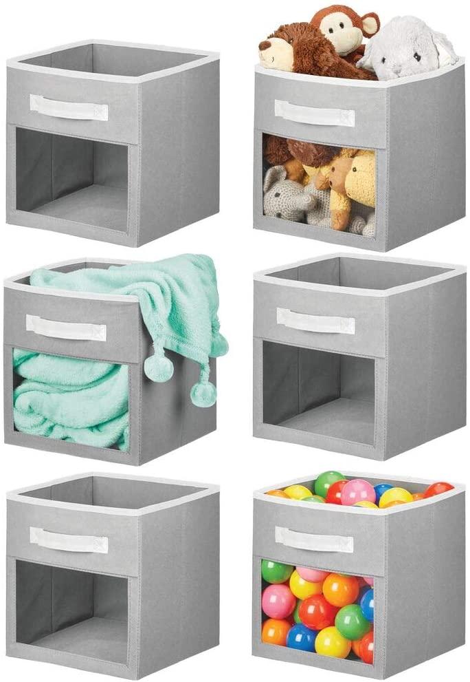 mDesign Soft Fabric Closet Storage Organizer Cube Bin Box, Clear Window and Handle - for Child/Kids Room, Nursery, Playroom, Furniture Units, Shelf, 6 Pack - Gray/White