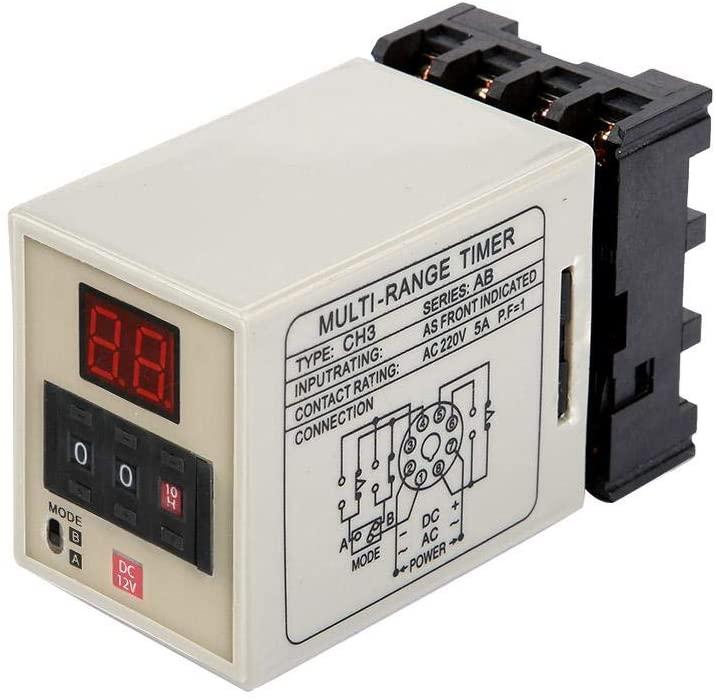 Dual Mode Delay Timer Relay 0.01S-99H LED Display AH3-DM 12/24/110/220/380V(Optional)((DC 12V))