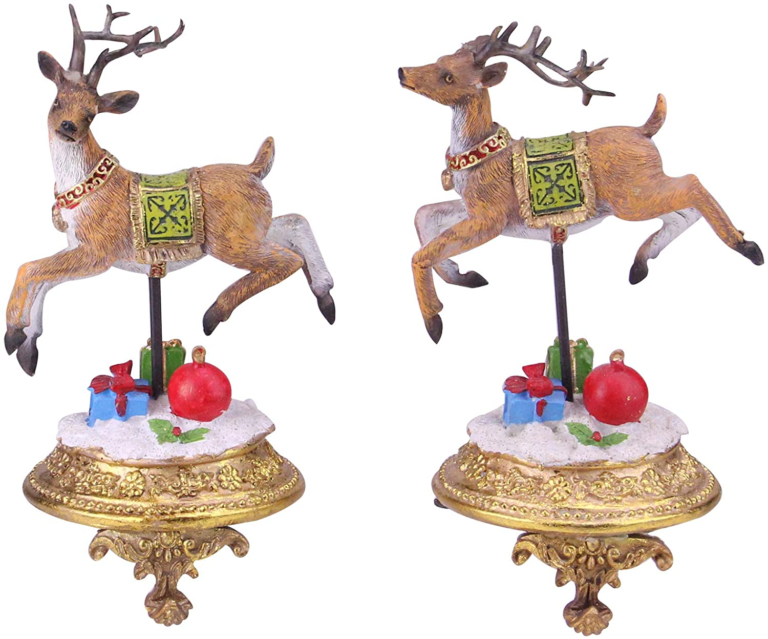 """Set of 2 Brown and White Glittered Reindeer Christmas Stocking Holders 9.25"""""""