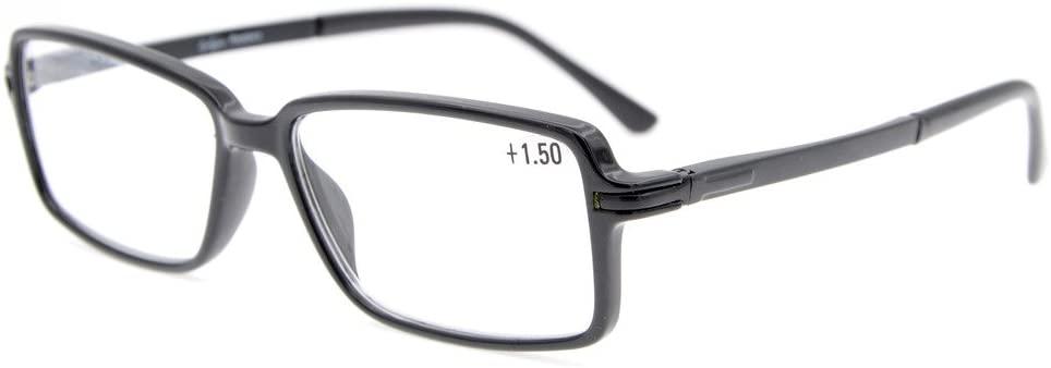 Eyekepper Classic Rectangle TR90 Frame Spring Hinges Reading Glasses Stylish Crystal Clear Vision Black +0.5