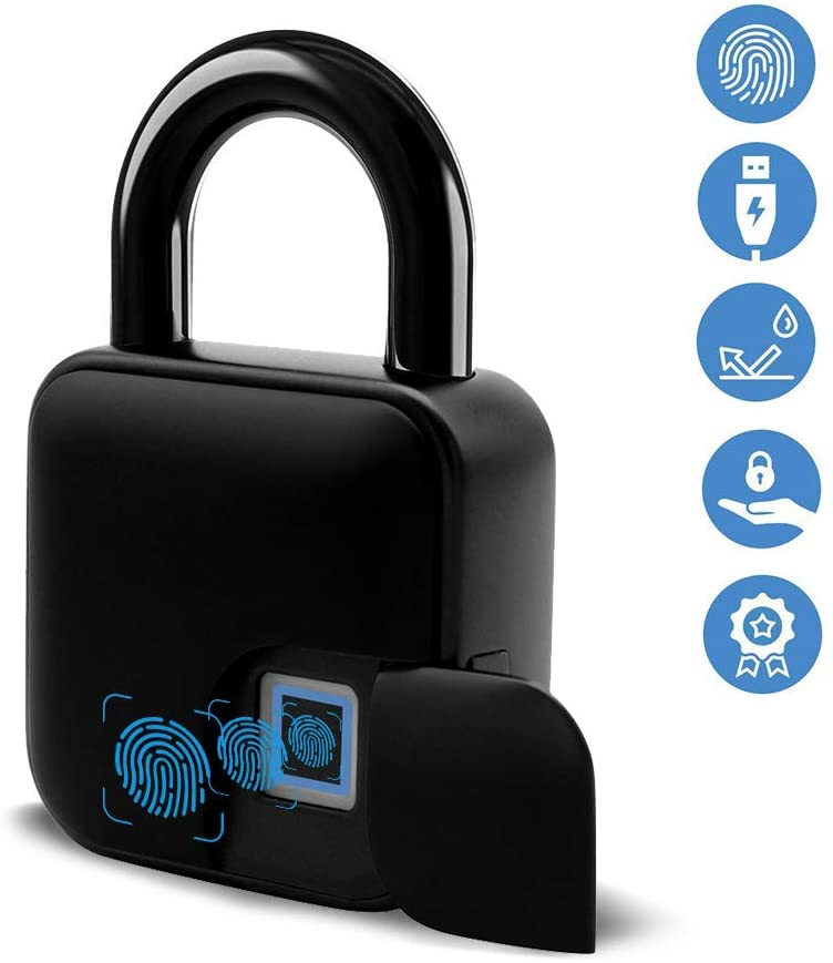 New Smart Fingerprint Padlock, Anti-Theft Waterproof Safety Electronic Lock Suitable for House Door, Suitcase, Backpack, Gym, Bike, Office