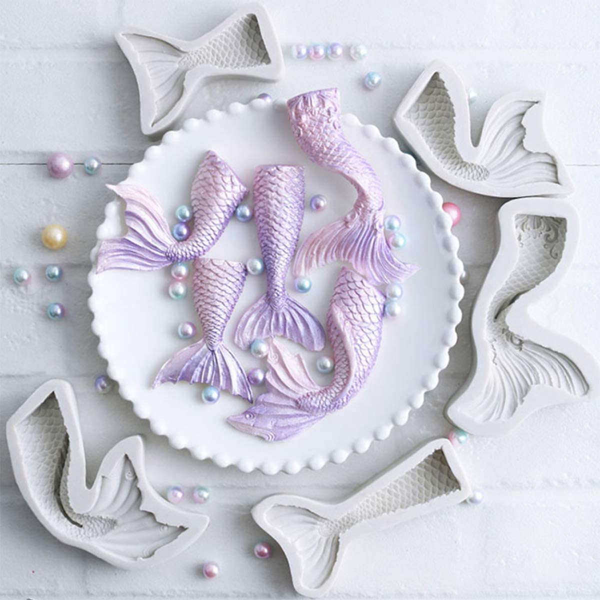 iSuperb 5 Pack Mermaid Tail Silicone Mold, Cake Fondant Mold, for Cake Decoration, Chocolate, Soap, Candy, Jello, Cupcake Topper, Gumpaste, Clay, Ice, DIY Tool