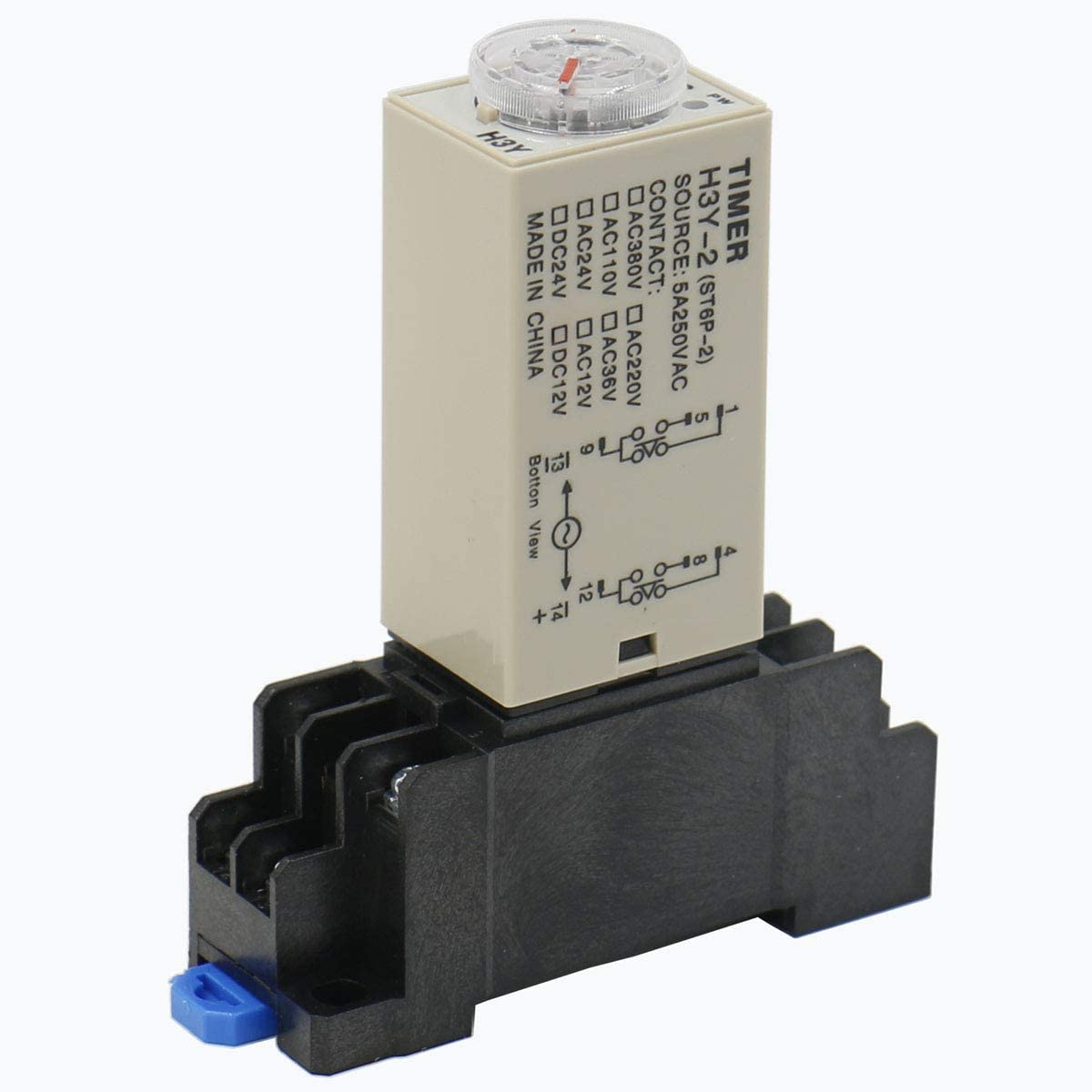 Baomain Delay Timer Relay H3Y-2 DC 12V 60 S DPDT 8P terminal with DYF08A Socket