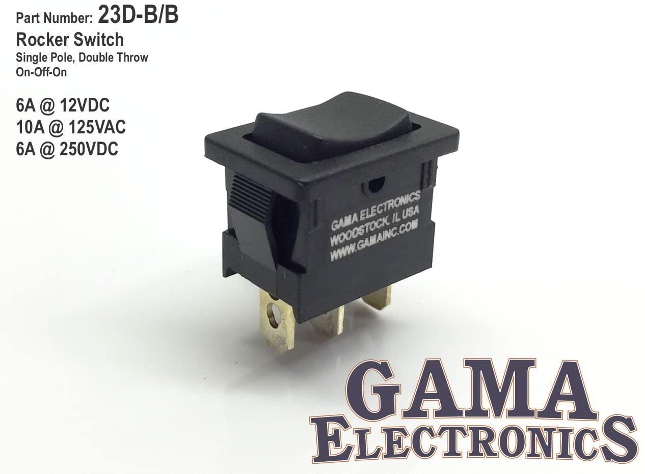 GAMA Electronics Mini 10 Amp 3 Position On-Off-On Rocker Switch