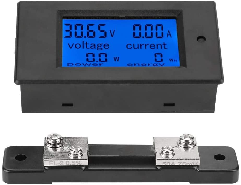 Voltage Current Meter DC 6.5-100V Digital LCD Display Electric Power Energy Meter Voltmeter Ammeter with 50A Shunt or 100A Shunt (50A Shunt)