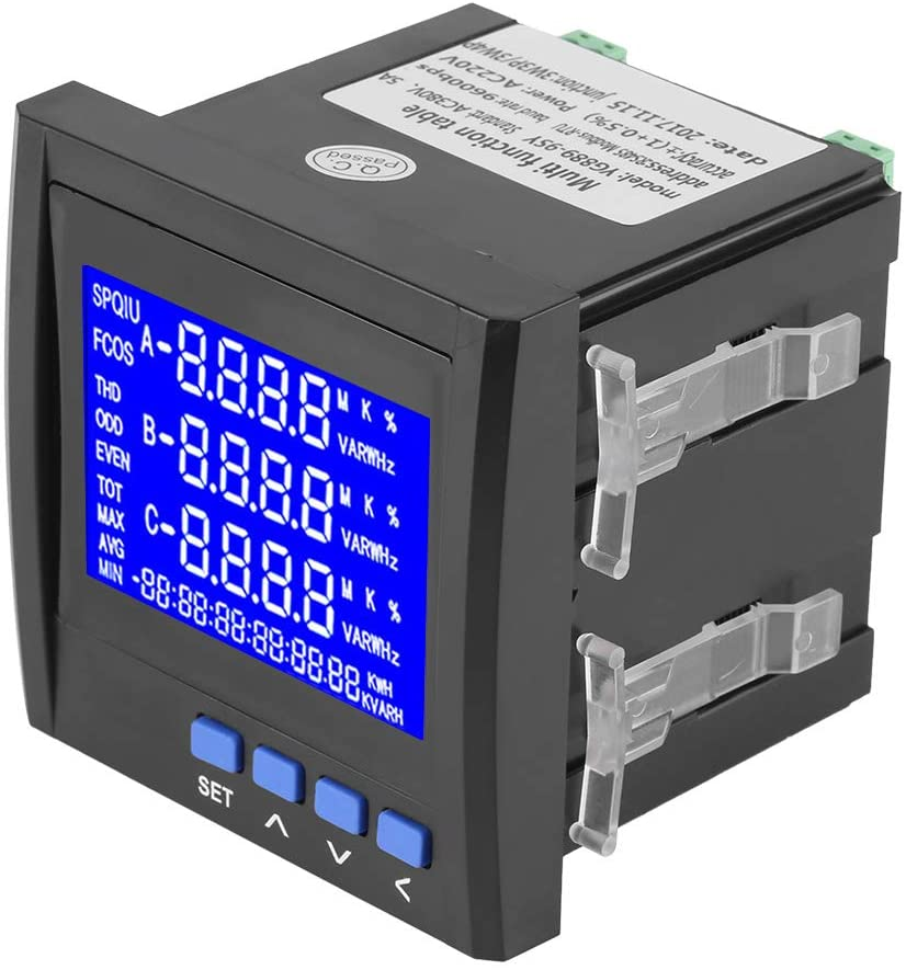 Rosvola Power Meter, Power MeterMultifunction 3-Phase Electric Current Voltage Frequency Power Energy Meter V A Hz kWh RS485