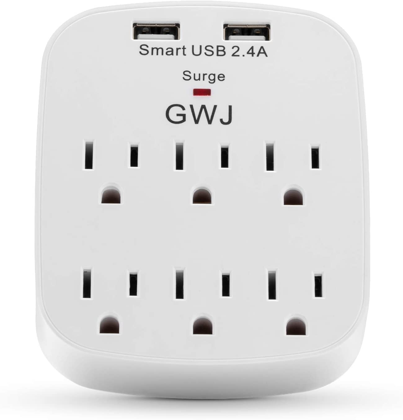 GWJ Wall Surge Protector, USB Charger with 2 USB Charging Ports(Smart 2.4A Total), 6-Outlet Extender for Your Home, School, Office, White, UL Listed