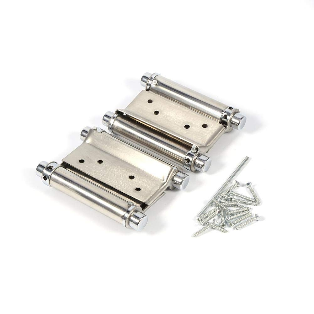 1 Pair 3'' Inch Double Action Spring Hinge, 304 Stainless Steel Ball Bearing Freegate Spring Hinge with Screws for Cafe Door Swing Door Counter Swinging Doors Self Closing