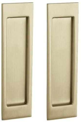 Baldwin PD005.PASS Santa Monica Passage Pocket Door Set with Door Pull from the, Vintage Brass