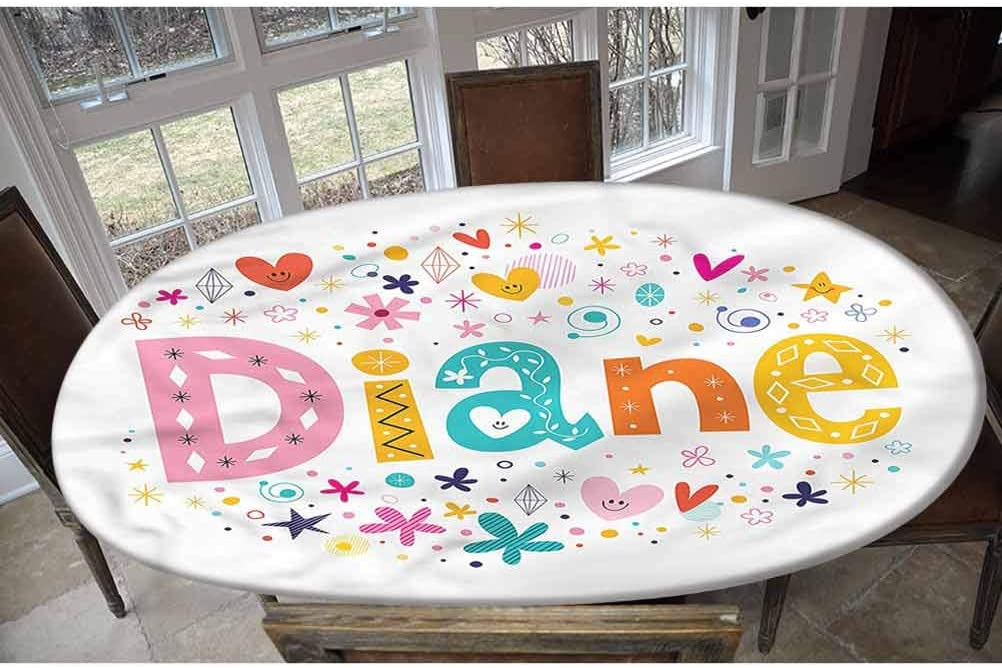 LCGGDB Diane Elastic Edged Polyester Fitted Tablecolth -Festive Baby Girl Name- Oval/Olbong Fitted Table Cover - Fits Oval/Olbong Tables up to 48