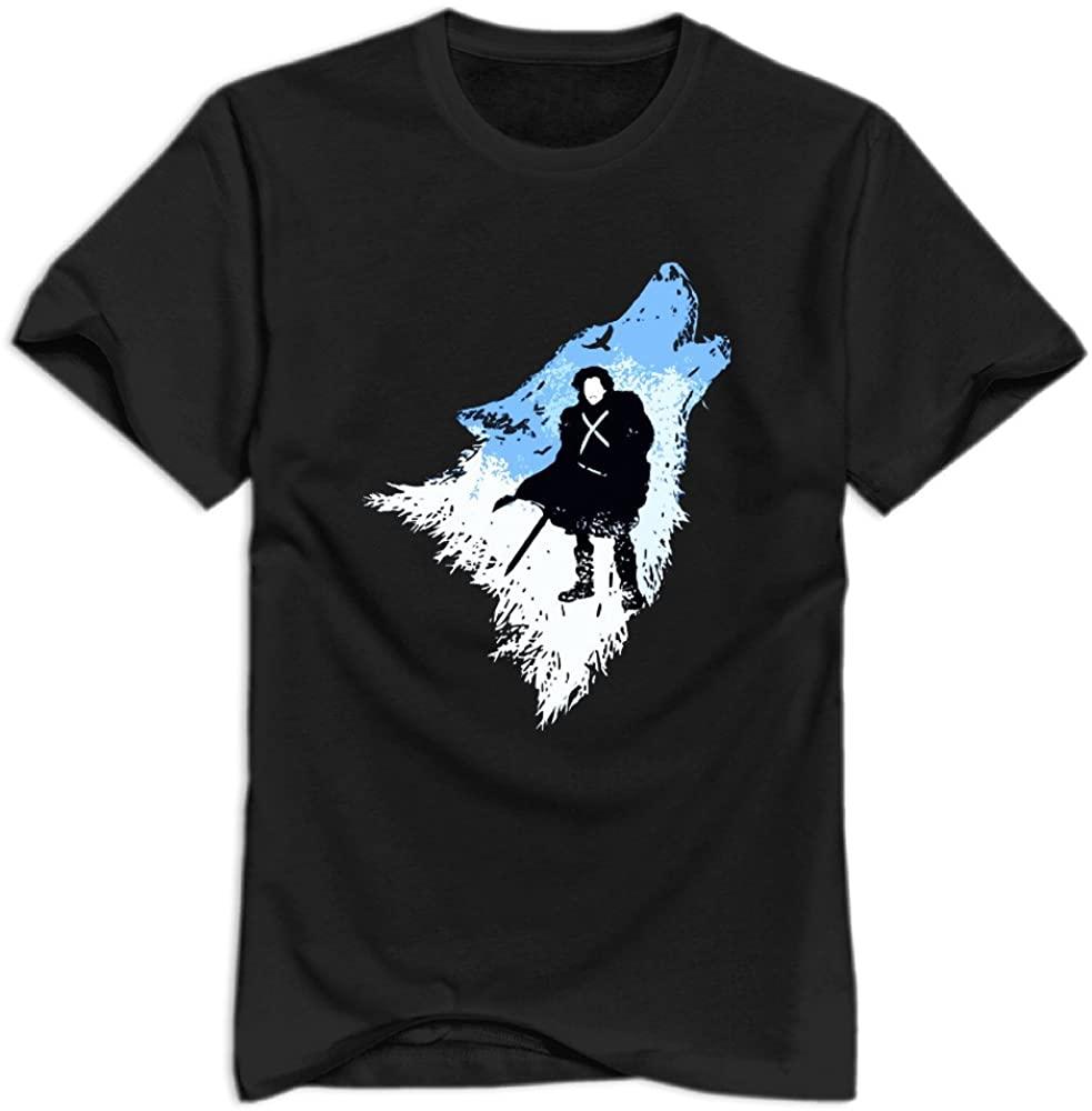 Men's The Wolf Jon Snow Game of Thrones Apparel Shirt.