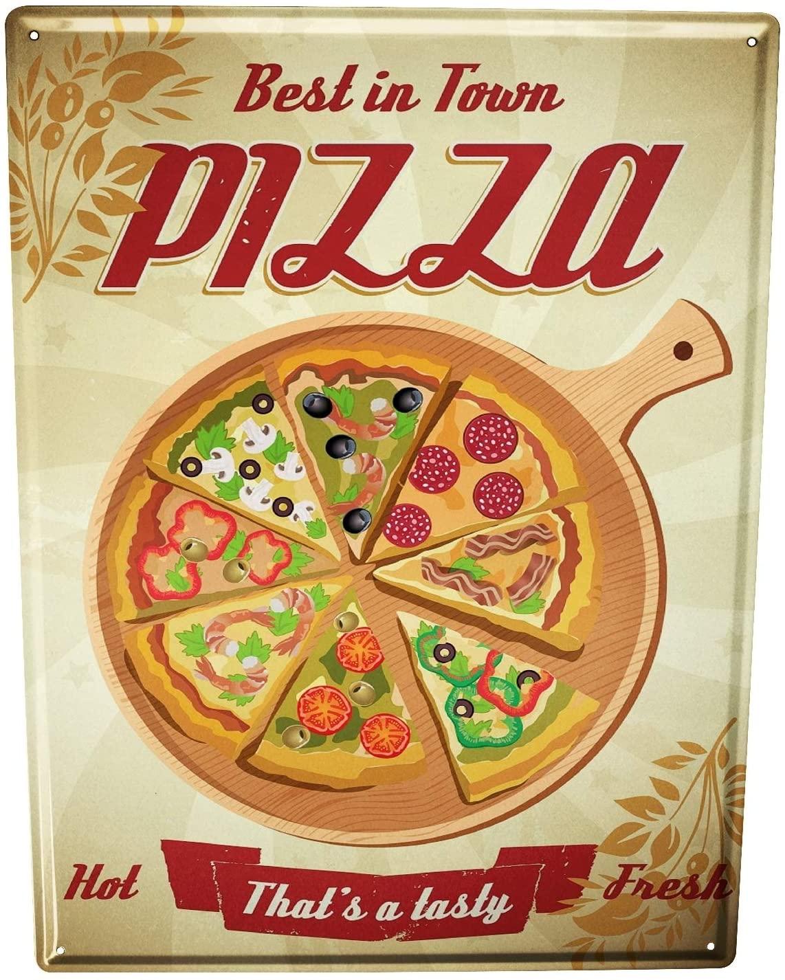 LEotiE SINCE 2004 Tin Sign Metal Plate Decorative Sign Home Decor Plaques 30 x 40 cm Food Restaurant Pizza