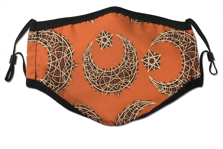 Oriental Moon And Stars Turkish Moroccan Motifs Face Cover For Women Men Anti Filter Dust Sun Uv Reusable Neck Gaiter
