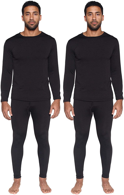 2 Mens Thermal Sets - Thermal Underwear for Men - Long Sleeve Top & Bottom Fleece Lined Long Johns for Men