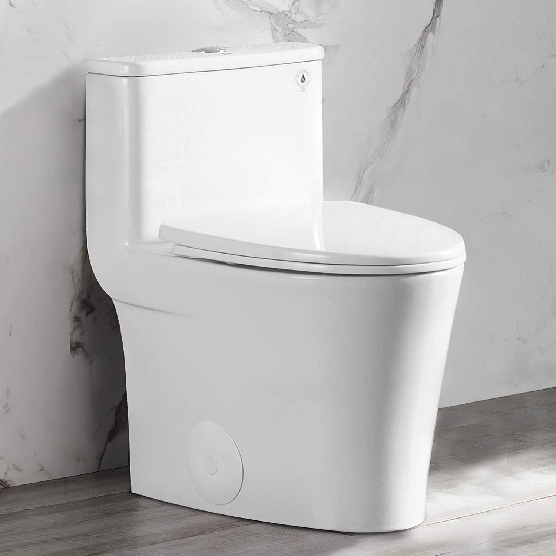 DeerValley DV-1F52807 White Small Elongated One Piece Toilet Modern High Efficiency Single Flush 1.28 GPF CUPC WaterSense Ceramic Glossy
