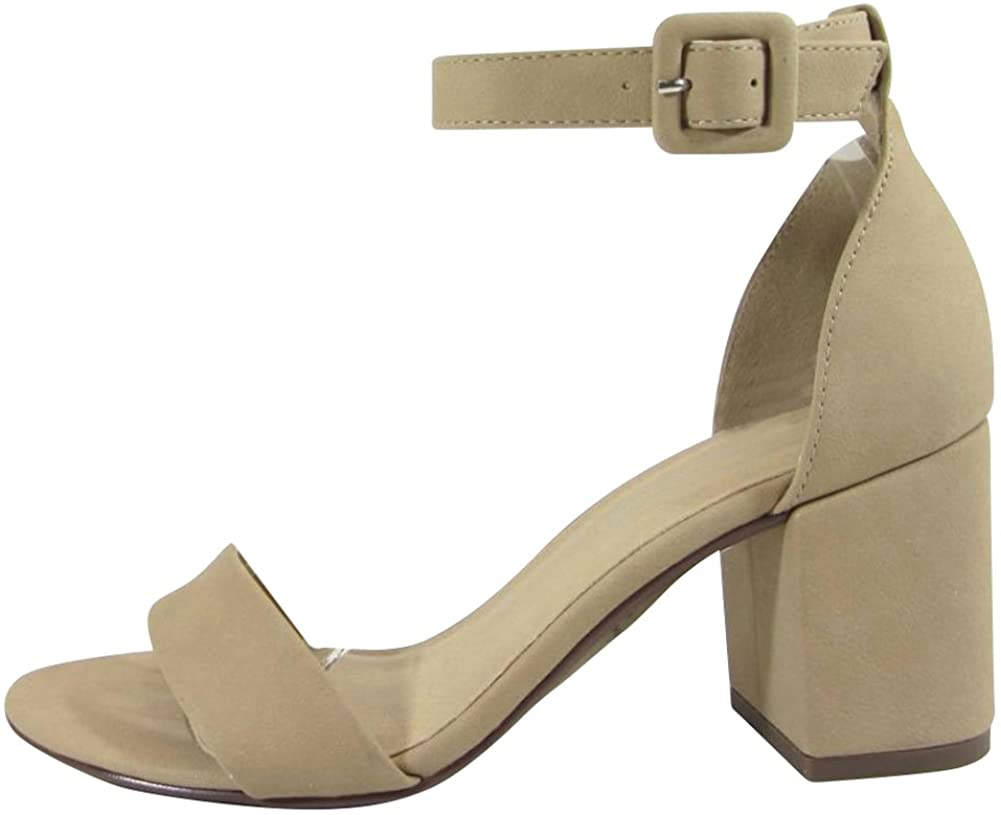 Cambridge Select Women's Single Band Buckled Ankle Strap Chunky Block Mid Heel Sandal