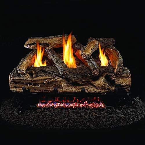 Peterson Real Fyre 24-inch Split Oak Log Set With Vent-free Natural Gas Ansi Certified G9 Burner - Basic On/Off Remote